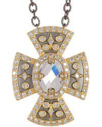 Freida Rothman - 14k Gold & Rhodium Plated Sterling Silver Metropolitan Cz Pendant Necklace - Lyst