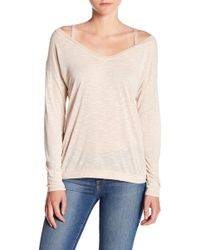 Michael Stars - Front To Back Cold Shoulder Long Sleeve Tee - Lyst