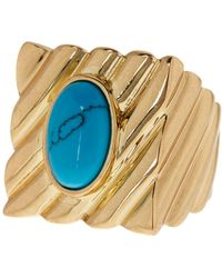 House of Harlow 1960 - 14k Yellow Gold Plated Valda Ribbed Cocktail Ring - Size 7 - Lyst