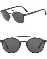 Giorgio Armani - Round 49mm Metal Sunglasses - Lyst