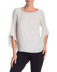 Kasper - Poka Dot Printed Ruffle Sleeves Blouse - Lyst