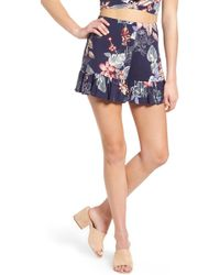 Soprano - Ruffle Floral High Waist Shorts - Lyst