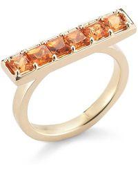 Dana Rebecca - 14k Yellow Gold Allison Joy Orange Sapphire Ring - Size 4 - Lyst
