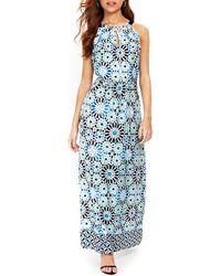 Wallis - Turquoise Tile Halter Top Maxi Dress - Lyst