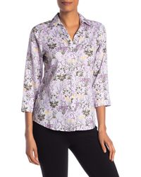 Foxcroft - Mary Floral 3/4 Sleeve Button Front Shirt - Lyst