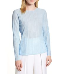LEWIT - Sheer Rib Keyhole Back Sweater - Lyst