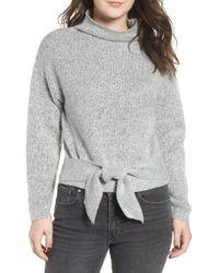 Love By Design - Tie Hem Funnel Neck Sweater - Lyst