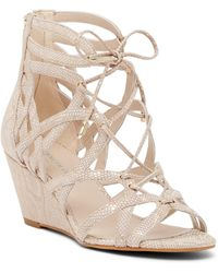 Kenneth Cole | Dylan Snake Embossed Leather Wedge Sandal | Lyst