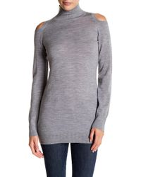 Three Dots - Cold Shoulder Mock Neck Wool Pullover - Lyst