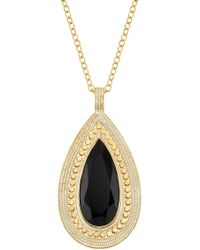 Anna Beck - 18k Gold Plated Sterling Silver Black Onyx Stone Drop Pendant Necklace - Lyst