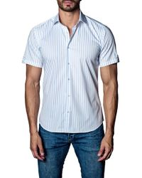 Jared Lang - Woven Striped Short Sleeve Trim Fit Shirt - Lyst