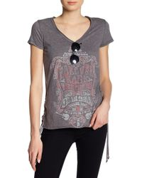 William Rast - Carson Lace-up Graphic Print Tee - Lyst
