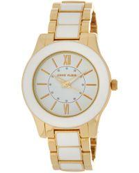 Anne Klein - Women's Glossy White & Gold Bracelet Watch - Lyst