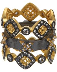 Freida Rothman - 14k Gold & Rhodium Plated Sterling Silver Cz Lattice Motif Axis Ring Set - Set Of 3 - Size 5 - Lyst