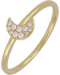 Bony Levy - 18k Yellow Gold Pave Diamond Petite Half Moon Ring - 0.06 Ctw - Lyst