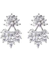 CZ by Kenneth Jay Lane - Cz Marquise Leaf Cluster Earrings - Lyst