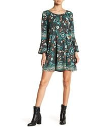 Angie - Bell Sleeve Print Mini Swing Dress - Lyst