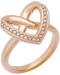 Swarovski - Cupidon Pave Crystal Accented Heart Shape Ring - Size 7 - Lyst