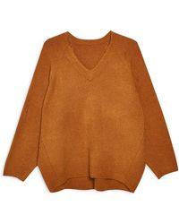 TOPSHOP - Rib Knit Sweater - Lyst