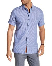 Robert Graham - Oakley Short Sleeve Classic Fit Striped Print Woven Shirt - Lyst