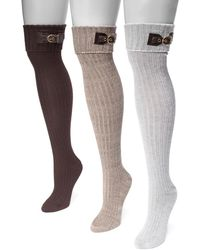 Muk Luks - Ribbed Over-the-knee Buckle Cuff Socks - 3 Pairs - Lyst