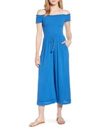 1.STATE - Off-the-shoulder Smocked Bodice Jumpsuit - Lyst