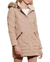 Lauren by Ralph Lauren - Quilted Jacket With Faux Fur Trim - Lyst