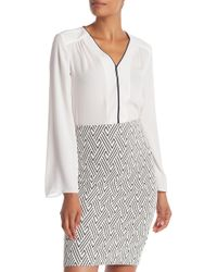 Philosophy Apparel - Tipped Hi-lo Long Sleeve Blouse - Lyst