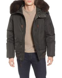Andrew Marc - Bomber Jacket W/ Genuine Fox Fur Trimmed Hoodie - Lyst