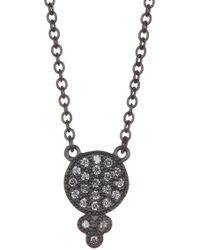 Freida Rothman - Black Sterling Silver Metropolitan Pave Cz Bindhi Pedant Necklace - Lyst