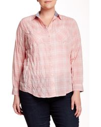 Sandra Ingrish - 2 Pocket Plaid Blouse (plus Size) - Lyst