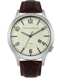 French Connection - Men's Gents Brown Leather Strap Watch - Lyst