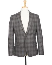 Boga - Grey Plaid Notch Lapel Modern Fit Wool Blazer - Lyst