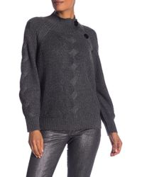 Laundry by Shelli Segal - Mock Neck Cable Sleeve Sweater - Lyst