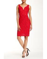 Marina - Sleeveless Floral Lace Dress - Lyst