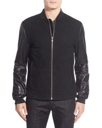 Lamarque - Suede Varsity Jacket With Leather Sleeves - Lyst