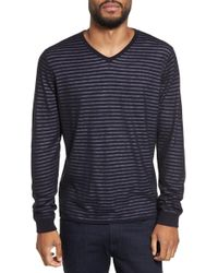 Calibrate | Stripe V-neck Double Layer Sweater | Lyst