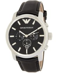 Emporio Armani - Men's Classic Collection Leather Strap Watch, 47mm - Lyst