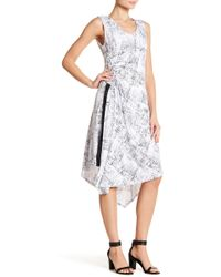 Ellen Tracy - Asymmetrical Hem Sleeveless Patterned Dress - Lyst