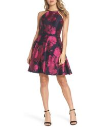 368bf8c6e4cef Lyst - Xscape Embellished Chiffon Cape Overlay Cocktail Dress