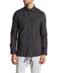 Kenneth Cole - Long Sleeve Front Pocket Pinstripe Modern Fit Woven Shirt - Lyst