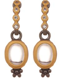 Freida Rothman - Contemporary Deco Two-tone Cz Accent Drop Earrings - Lyst
