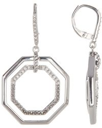 Judith Jack - Sterling Silver Pave Swarovski Marcasite & Crystal Octagon Drop Earrings - Lyst