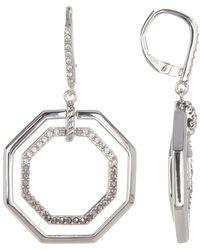 Judith Jack | Sterling Silver Pave Swarovski Marcasite & Crystal Octagon Drop Earrings | Lyst