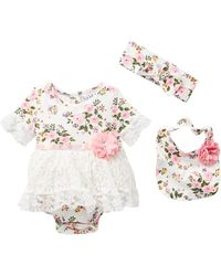 Nicole Miller - Floral Skirted Bodysuit, Bib & Headband Set (baby Girls) - Lyst