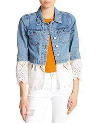 C&C California - Eyelet Crochet Lace Hem Denim Jacket - Lyst