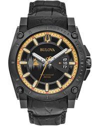 Bulova - Men's Precisionist Leather Watch, 46.5mm - Lyst