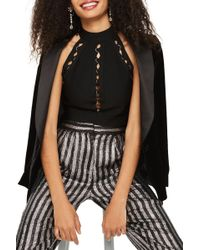 TOPSHOP - Ring Detail Bandage Crop Top - Lyst