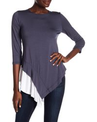 Go Couture - Long Sleeve Handkerchief Top - Lyst