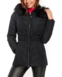 Wallis - Water Repellent Quilted Puffer Coat With Faux Fur Trim (regular & Petite) - Lyst